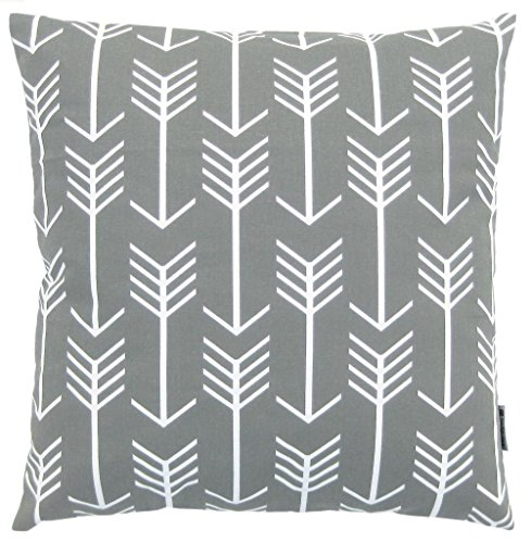 Big Save! JinStyles® Cotton Canvas Arrow Accent Decorative Throw Pillow Cover (Slate Gray, White, S...