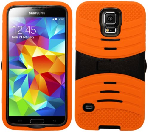Mylife (Tm) Pumpkin Orange And Dark Night Black - Shockproof Survivor Series (Built In Kickstand + Easy Grip Ridges) 2 Piece + 2 Layer Case For New Galaxy S5 (5G) Smartphone By Samsung (Internal Flex Silicone Bumper Gel + Internal 2 Piece Rubberized Fitte