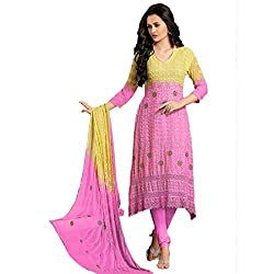 Rozdeal Women Chiffon Embroidered Dress Material 3/4 Sleeve Yellow Anarkali Suit