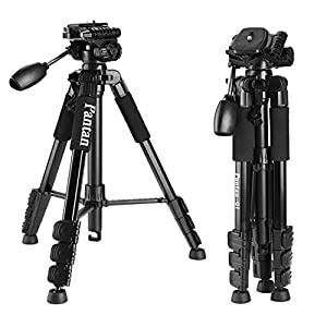 Pantan Q1, Professional Light Weight Portable Aluminum Tripod for SLR Camera, Applicable for Canon, Nikon, Sony, Max Height 57 Inches, Max Load 6 Lbs, Free Carrying Bag Included