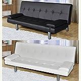 Divano letto moderno 3 posti ecopelle reclinabile bianco nero soggiorno sofa