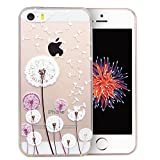 iPhone 5S Case, iPhone 5 Case, Dorami Clear Soft TPU Case with Delicate 3D Print Protective Bumper Slim Case [Maya Series][Perfect Fit][Ultra Thin] for iPhone 5/5S (Dandelion)