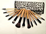 Glow Wooden Handle Professional Brushes - Professional Quality; Wholesale Price (12 Brushes Set, Leopard Print)