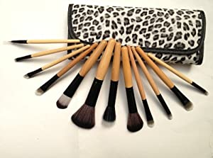 Glow 12 Pcs Wooden Handle Makeup Brushes Set w/Leopard Case New