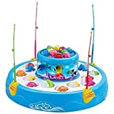 FocuSun Child Educational Electric Rotating Magnetic Fishing Game Playset Toys Double Fish Pool with the Music & Light, Kid's Gift, Blue