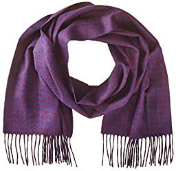 Phenix Cashmere Men\'s Houndstooth Scarf, Navy/Burgundy, One Size