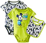 Disney Baby-Boys Newborn Mickey 2 Pack Creeper Bib Layette- Green, 0-3 Months