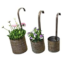 Hanging Metal Flower Planters with Hanging Handles, Set of Three Product SKU: PL221876