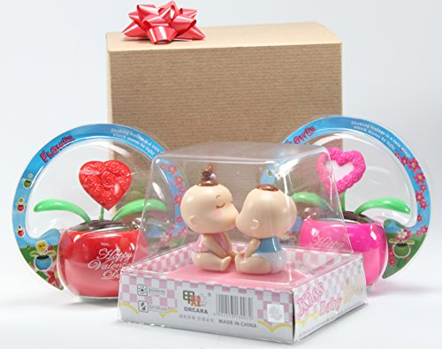 Lovers' Gift Set of 3 ~ 1 Kissing Baby Couple Pink Base + 1 Pink Heart + 1 Red Heart Solar Toy in Lovely Gift Box with Bow Office Desk Display Home Decoration Valentine's Day Gift