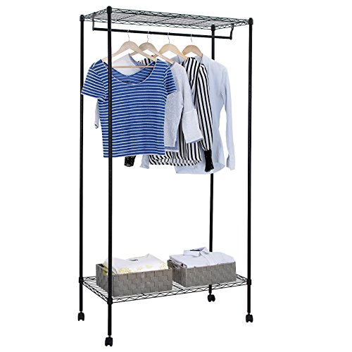 SONGMICS Heavy Duty Garment Rack with Top and Bottom Shelves Rolling Clothes Rack with Hanger Bar ULGR90P (Heavy Duty Rolling Garment Rack compare prices)