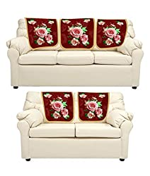 meSleep Red Roses Sofa Cover - Set of 5