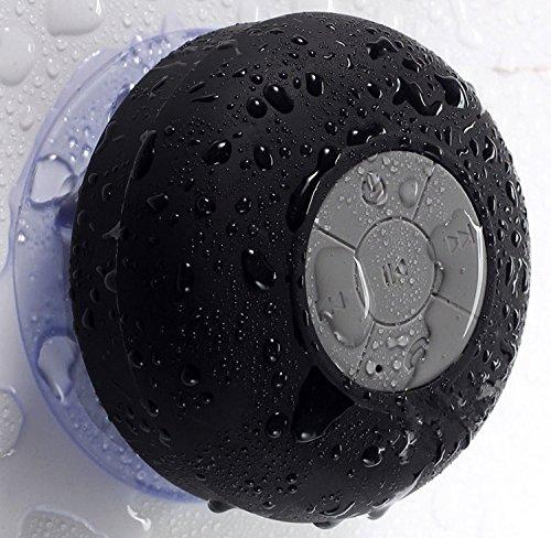 Mini Waterproof Wireless Bluetooth Speaker Shower Hands-free Suction In-car Mic (Black)