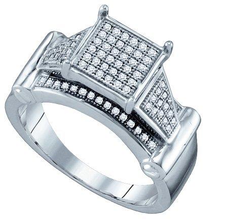 10KT White Gold 0.25 Carat (ctw) Diamond Micro-Pave Ladies Fashion Ring