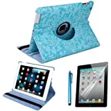 HDE 360 Rotating Stand Leather Case For Apple iPad 2 3 4 - Includes Capacitive Stylus and Screen Protector (Blue Embossed Flower)