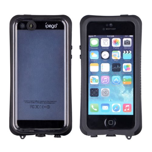 Ipega Waterproof Shockproof Snowproof Hard Case Shell Cover Compatible with Apple Iphone 5 5s 5c (Black)