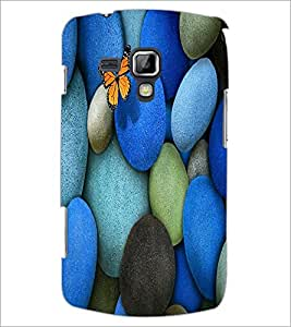 PrintDhaba Coloured Stones with Butterfly D-1266 Back Case Cover for SAMSUNG GALAXY S DUOS S7562 (Multi-Coloured)