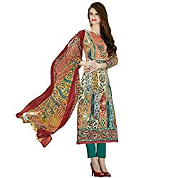 Shelina Women Beige Cotton Printed Dress Material