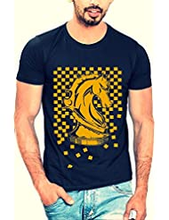 Half Sleeve T Shirt For Men_Graphic Printed_Slim Fit_100%Cotton_Navy Blue Color_Chess Horse