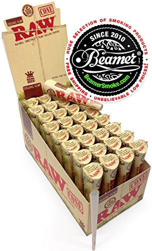 3-Raw-ORGANIC-Cones-Pre-Rolled-Rolling-Papers-Raw-ORGANIC-Natural-Unrefined-Cones-Rolling-Paper-King-Size-1-Pack-of-3-Cones-Beamer-Smoke-Limited-Edition-Sticker
