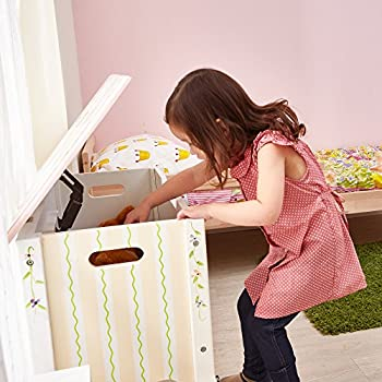 Fantasy Fields - Princess & Frog Thematic Kids Wooden Toy Chest with Safety Hinges Imagination Inspiring Hand Crafted & Hand Painted Details Non-Toxic, Lead Free Water-based Paint