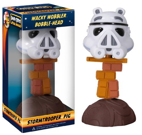 "Stormtrooper Pig ~6.25"" Bobble Head Figure: Angry Birds Star Wars Wacky Wobbler Series"