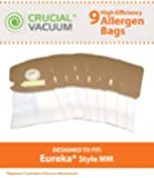 9 Eureka Style MM Mighty Mite & Sanitaire Allergen Filtration Vacuum Cleaner Bags; Compare to Eureka Part # 60297A , 60295, 60296, 60297, 60295B; Designed & Engineered By Crucial Vacuum