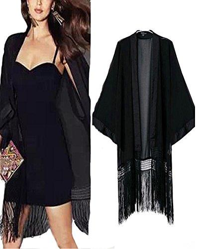 Roiii (TM) Vintage Floral Loose Shawl Kimono Boho Chiffon Cardigan Coat Jacket Cuddly