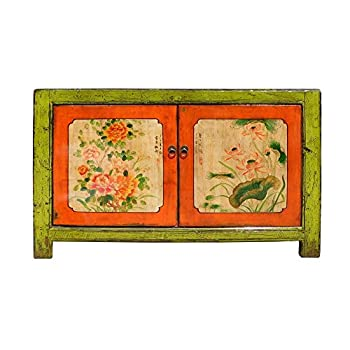 Chinese Lime Green Orange Flower Side Table Cabinet Acs1346