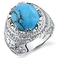 Men's Medieval Style Turquoise Ring Sterling Silver with Rhodium Nickel Finish Available Sizes 8 to 13 from Peora