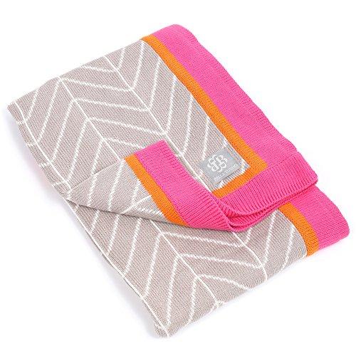 Bella Tunno Haute Herringbone Stroller Blanket, Pink - 1