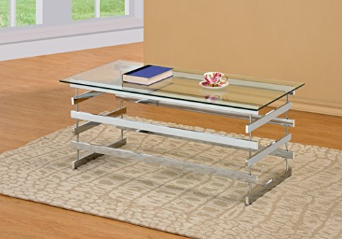 Chrome coffee tables metal glass rectangular accent coffee for Coffee tables 18 inches wide