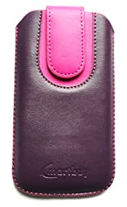 Emartbuy® Purple / Pink Plain Premium PU Leather Slide in Pouch Case Cover Sleeve Holder ( Size 4XL ) With Pull Tab Mechanism Suitable For Panasonic P55 Novo