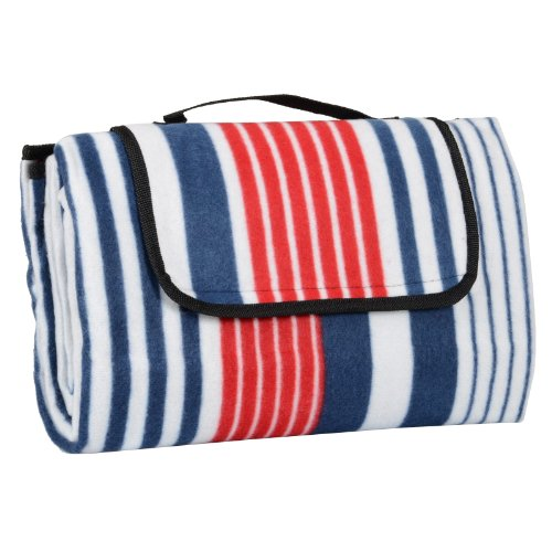Red & Blue Stripe Folding Fleece Blanket Camping Beach Waterproof Picnic Mat Rug