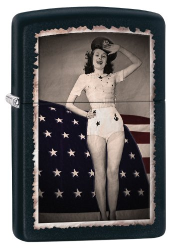 Zippo Saluting Pinup Windproof Lighter, Matte Black