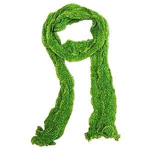 Green Gold Skinny Scarf Knit Lightweight 3.5″x88″