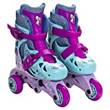 Disney Frozen Adjustable 2-in-1 Convertible Glitter Trainer Skates/Rollerblades w/ Wrist Guards