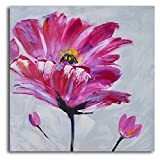 TJie Art Hand Painted Mordern Oil Paintings Frenzy of Fuschia Florals 1-Piece Canvas Wall Art Set Vibrantly colored modern artwork in floral theme,Acrylic-on-canvas painting comes gallery wrapped,Stretched on one inch-thick wooden frames