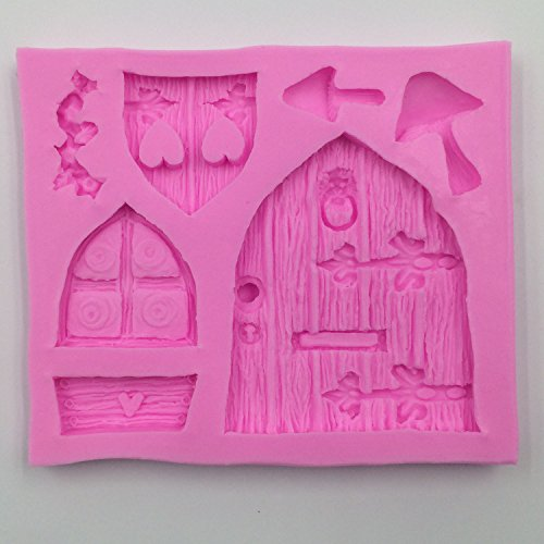 Enchanted Vintage Fairy Garden Fairy or Gnome Home Door Silicone Mould, Sugarcraft Food Grade Icing lace Mold, non stick Sugar paste, Chocolate, Fondant, Butter, Resin, Cabochon, Polymer Clay, fimo, gum paste, PMC, Wax, Soap Mold Include Flower Vine, Mushroomes, Doors, Window