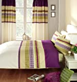 SAN MARCO PURPLE QUILT DUVET COVER SET WITH MATCHING CURTAINS and FITTED SHEET - DOUBLE