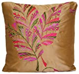 Embroidered Leaf Accent Pillow Throw Case Designers Guild Silk Cushion Cover Fabric Delacroix Pink