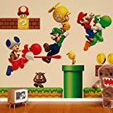 ZNU Super Mario Wall Decals Stickers DIY Removable Stick Baby Boys Girls Kids Room Nursery Wall Mural Decor (Color: Yellow)