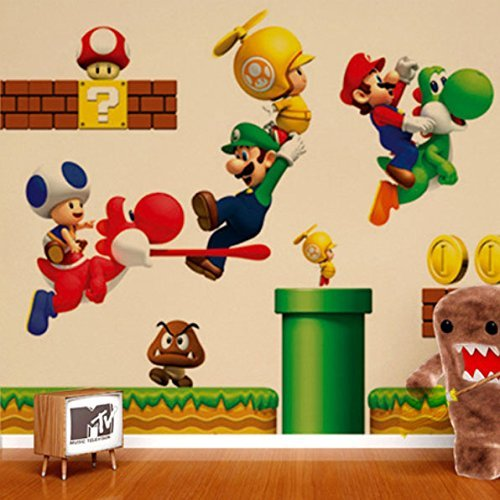 ZNU Super Mario Wall Decals Stickers DIY Removable Stick Baby Boys Girls Kids Room Nursery Wall Mural Decor - 1
