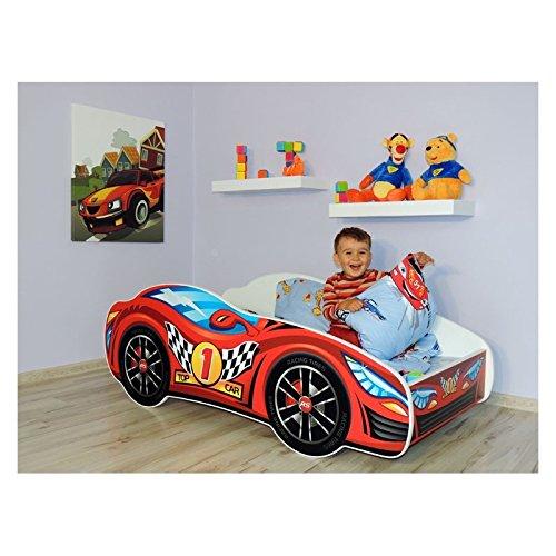 Lit auto rouge+ sommier + matelas 140x70 cm