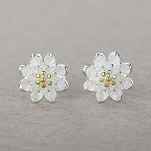 CS priorità-Orecchini a lobo a forma di fiore di loto in argento con piccoli orecchini, perfetta come regalo da donna