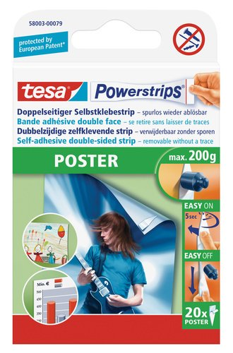 tesa powerstrips strips poster packung mit 20 st ck. Black Bedroom Furniture Sets. Home Design Ideas