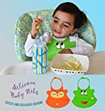 Waterproof Baby Bib Crumb Catcher Is Easy to Clean, Lightweight and Comfortable - Soft Silicone Bibs Keep Baby Happy and Tidy with Safe N' Friendly Neck Clasp - Buy Unique Designs by Noni Cuddles Now!