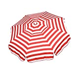 Heininger 1323 DestinationGear Italian Red and White 6' Acrylic Striped Patio Pole Umbrella