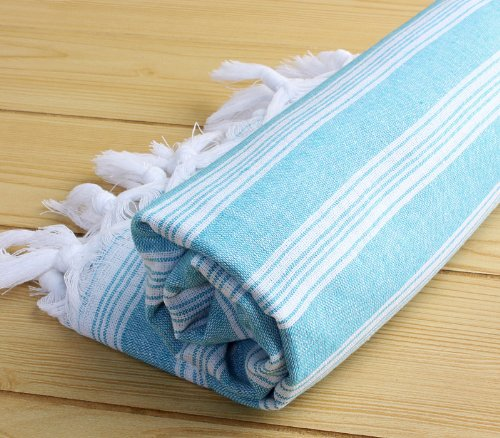 """Quick Dry Large Pestemal 100% Cotton Turkish Towel Pestemal Peshtemal Fouta Bath Towel Hamam Bathrobe Spa Pool Massage Sauna Beach Yacht Gym Fitness Kitchen Yoga Baby Towel Picnic Blanket 100% Cotton Table Throw Sarong Unisex Striped """"Turquoise"""""""