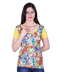Kally Women's Satin Printed Regular Fit Top (TP7511, Multi-Coloured, Large)