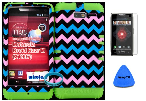 Hybrid Cover Bumper Case For Motorola Droid Razr M (Xt907, 4G Lte, Verizon) Protector Baby Pink, Blue, Black Chevron Pattern Snap On + Lime Silicone (Included Wristband, Screen Protector And Pry Tool By Wirelessfones) front-416459